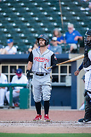 Arkansas Travelers outfielder Aaron Knapp (1) looks to third during an at-bat during a Texas League game between the Northwest Arkansas Naturals and the Arkansas Travelers on May 30, 2019 at Arvest Ballpark in Springdale, Arkansas. (Jason Ivester/Four Seam Images)