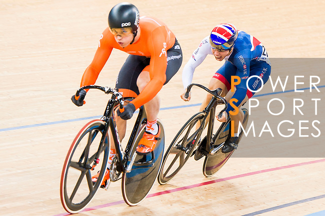 Harrie Lavreysen of the Netherlands and Ryan Owens of Great Britain compete on the Men's Sprint Semifinals - 2nd Race during the 2017 UCI Track Cycling World Championships on 15 April 2017, in Hong Kong Velodrome, Hong Kong, China. Photo by Marcio Rodrigo Machado / Power Sport Images