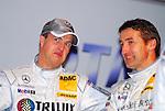 Motorsport: DTM Vorstellung  2008 Duesseldorf<br /> <br /> Ralf Schumacher schaut skeptisch  und Bernd Schneider bei der Praesentation in Duesseldorf auf  der Pressekonferenz.<br /> <br /> <br /> Foto &copy; nph (nordphoto)<br /> <br /> <br /> <br /> <br />  *** Local Caption ***
