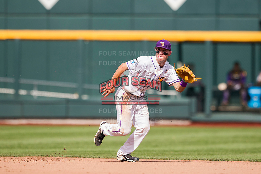 LSU Tigers shortstop Alex Bregman (8) on defense against the TCU Horned Frogs in the NCAA College World Series on June 14, 2015 at TD Ameritrade Park in Omaha, Nebraska. TCU defeated LSU 10-3. (Andrew Woolley/Four Seam Images)