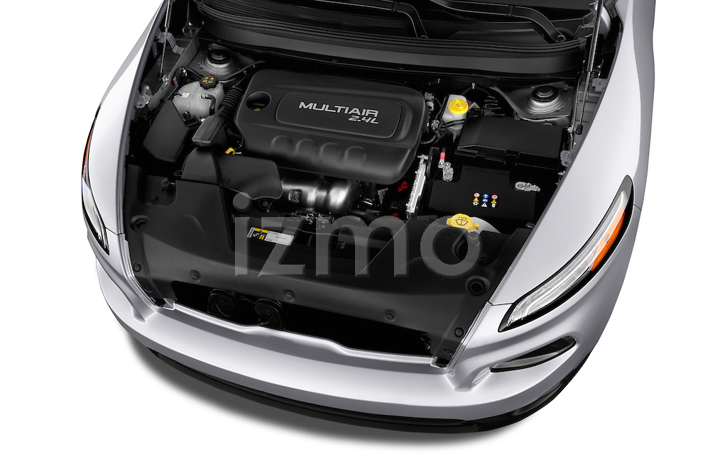 Car Stock 2014 JEEP Cherokee Longitude 4 Door SUV Engine  high angle detail view