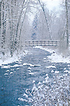 Winter scene with the footbridge over Rattlesnake Creek in Missoula, Montana
