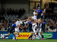 Rugby World Cup Auckland  England v France  Quarter Final 2 - 08/10/2011. JULIEN BONNAIRE (France) wins the line out and knocks the ball down to DIMITRI YACHVILI (France).Photo Frey Fotosports International/AMN Images