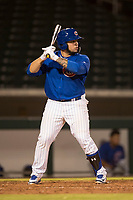 AZL Cubs 1 catcher Alexander Guerra (6) at bat during an Arizona League game against the AZL Diamondbacks at Sloan Park on June 18, 2018 in Mesa, Arizona. AZL Diamondbacks defeated AZL Cubs 1 7-0. (Zachary Lucy/Four Seam Images)