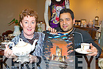 Noelle Crosbie and Ali Taher with some of the antiques on sale at the opening of Retro Rose bazaar in Killarney on Friday