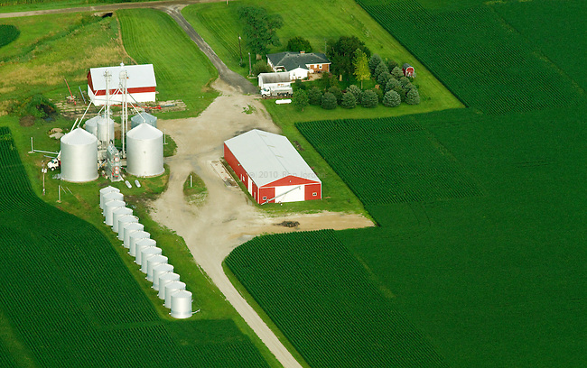 Aerial shot of midwestern farm