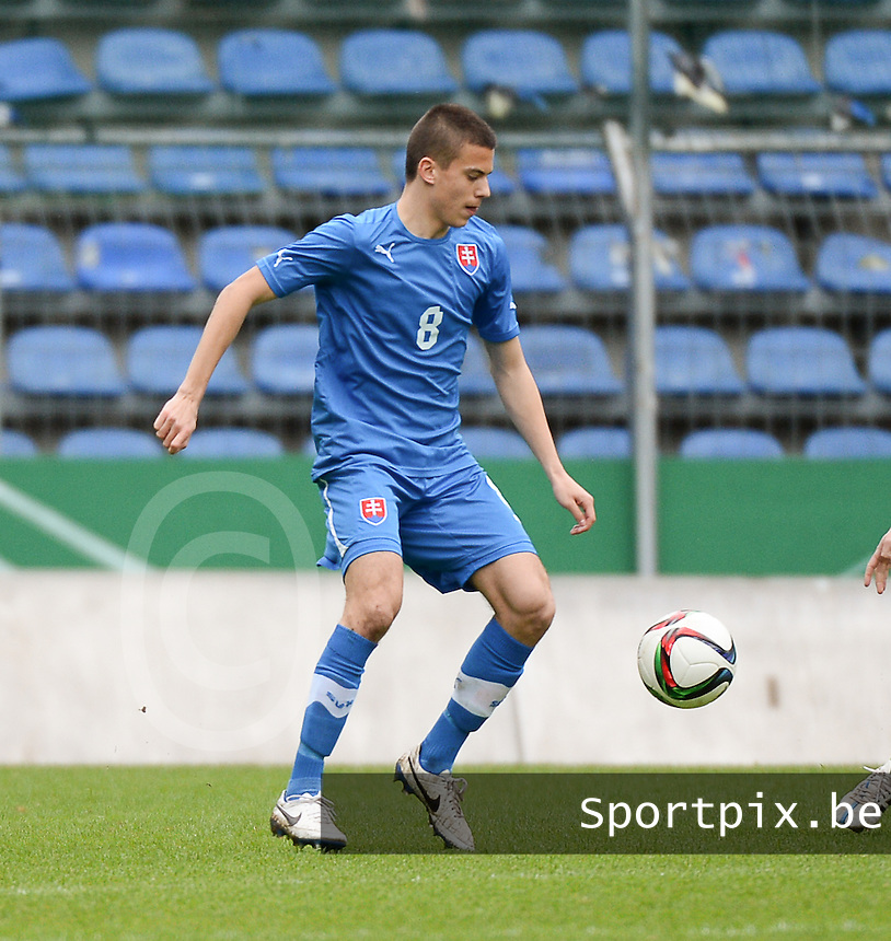 20150331 - MANNHEIM, Germany :<br /> <br /> Slovakian Laszlo Benes<br /> ,  pictured during the soccer match between Under 19 teams of Republic of Ireland and Slovakia , on the third and last matchday  in Group 2 of the UEFA Elite Round Under 19 at the Carl-Benz Stadium, Mannheim, Germany<br /> <br /> Thursday 31 march 2015<br /> foto Dirk Vuylsteke / David CATRY