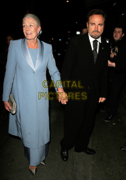 VANESSA REDGRAVE & FRANCO NERO.The Vogue Pre BAFTA Party at Cecconis, Mayfair, London, England..February 8th, 2008 .full length black suit blue coat holding hands clutch bag purse .CAP/AH.©Adam Houghton/Capital Pictures