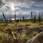 Idaho, North, Bonner County, Coolin. A September view over Priest Lake from Sundance Mountain in the Selkirk Range of the Kaniksu District of the Idaho Panhandle National Forest. Sept. 4th, 2016.