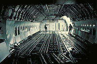 THE INTERIOR OF A CARGO PLANE; CARGO BAY