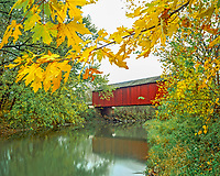 Covered Bridge over Bureau Creek, Near Illinois River & Princeton, Illinois