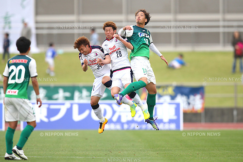 (L-R) Masaki Sakamoto, Hayato Nukui (Cerezo U-23), Kohei Hattori (Sagamihara), APRIL 24, 2016 - Football /Soccer : 2016 J3 League match between SC Sagamihara 3-1 Cerezo Osaka U-23 at Sagamihara Gion Stadium, Kanagawa, Japan. (Photo by AFLO SPORT)