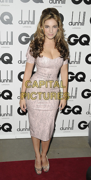 KELLY BROOK.The GQ Men Of The Year Awards 2009 held at the Royal Opera House, Covent Garden, London, England. .8th September 2009 .full length pale pink grey gray print lace shoes peep toe waist belt buckles cleavage.CAP/CAN.©Can Nguyen/Capital Pictures.