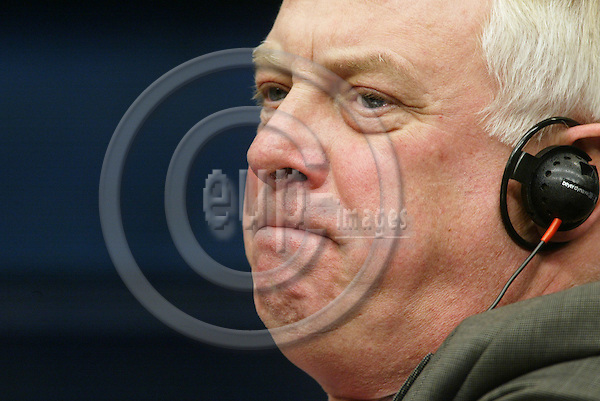 BRUSSELS - BELGIUM - 18 NOVEMBER 2003 -- Chris PATTEN EU Commissioner at the press conference during Colin POWELLs first visit in the EU-Council of the 25 EU foreign ministers.  PHOTO: ERIK LUNTANG/EUP-IMAGES