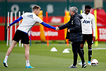 Manchester United manager Jose Mourinho shakes hands with Scott McTominay during the Manchester United training session at the Carrington Training Centre, Manchester. Picture date: May 19th 2017. <br /> Pic credit should read: Matt McNulty/Sportimage
