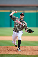 Arkansas Travelers relief pitcher Austin Kubitza (6) delivers a pitch during a game against the Frisco RoughRiders on May 28, 2017 at Dickey-Stephens Park in Little Rock, Arkansas.  Arkansas defeated Frisco 17-3.  (Mike Janes/Four Seam Images)