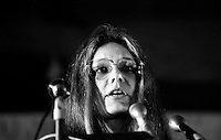 Gloria Steinem speaking in support of women's control of reproductive rights at Faneuil Hall in Boston Massachusetts  1975