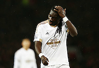 Bafetibis Gomis of Swansea City looks dejected during the Barclays Premier League match between Manchester United and Swansea City played at Old Trafford, Manchester on January 2nd 2016