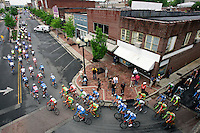 Racers ride through Dalton, Ga. at the beginning of Stage 4 of the Ford Tour de Georgia. Fred Rodriguez of Davitamon-Lotto won the 118.9-mile (191.4-km) stage from Dalton to Dahlonega.<br />
