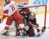 Kenny Roche, Cory Schneider, Mike Brennan - The Boston University Terriers defeated the Boston College Eagles 2-1 in overtime in the March 18, 2006 Hockey East Final at the TD Banknorth Garden in Boston, MA.