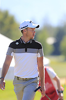 Danny Willett (ENG) walks to the 18th tee during Saturday's Round 3 of the 2018 Omega European Masters, held at the Golf Club Crans-Sur-Sierre, Crans Montana, Switzerland. 8th September 2018.<br /> Picture: Eoin Clarke | Golffile<br /> <br /> <br /> All photos usage must carry mandatory copyright credit (&copy; Golffile | Eoin Clarke)