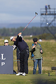 5th October 2017, The Old Course, St Andrews, Scotland; Alfred Dunhill Links Championship, first round; Rhein Gibson of Australia tees off on the sixteenth hole during the first round at the Alfred Dunhill Links Championship on the Old Course, St Andrews