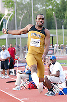 Malcom Pennix, a Missouri junior, flies to the pit in the long jump at the 2012 Big 12 Outdoor Track and Field Championships at Kansas State University in Manhattan, Ks. Pennix jumped 25-8 to place 3rd and earn All-Conference honors.