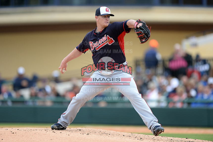 Atlanta Braves pitcher David Carpenter (48) during a spring training game against the Detroit Tigers on February 27, 2014 at Joker Marchant Stadium in Lakeland, Florida.  Detroit defeated Atlanta 5-2.  (Mike Janes/Four Seam Images)