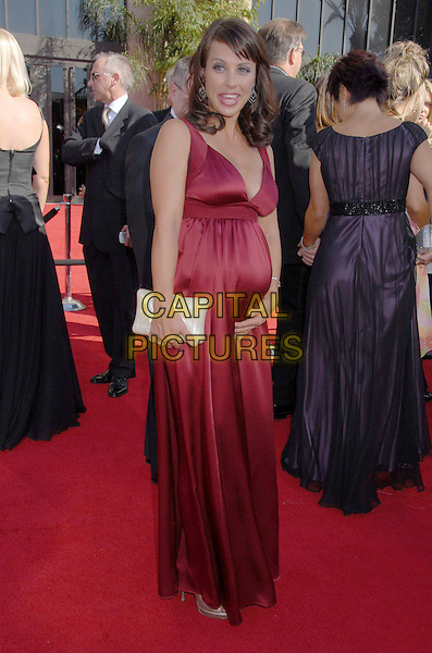 CONSTANCE ZIMMER.59th Annual Primetime Emmy Awards held at the Shrine Auditorium, Los Angeles, California, USA..September 16th, 2007.full length satin red dress pregnant white clutch purse .CAP/ADM/BP.©Byron Purvis/AdMedia/Capital Pictures.