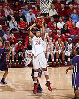 STANFORD, CA - February 27, 2014: Stanford Cardinal's Erica McCall during Stanford's 83-60 victory over Washington at Maples Pavilion.