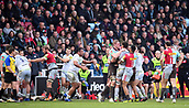 3rd December 2017, Twickenham Stoop, London, England; Aviva Premiership rugby, Harlequins versus Saracens; disagreement between the teams causes tempers to fray
