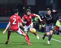 Lincoln City's Harry Toffolo vies for possession with Crewe Alexandra's  Perry Ng, left, and James Jones<br /> <br /> Photographer Andrew Vaughan/CameraSport<br /> <br /> The EFL Sky Bet League Two - Crewe Alexandra v Lincoln City - Wednesday 26th December 2018 - Alexandra Stadium - Crewe<br /> <br /> World Copyright &copy; 2018 CameraSport. All rights reserved. 43 Linden Ave. Countesthorpe. Leicester. England. LE8 5PG - Tel: +44 (0) 116 277 4147 - admin@camerasport.com - www.camerasport.com