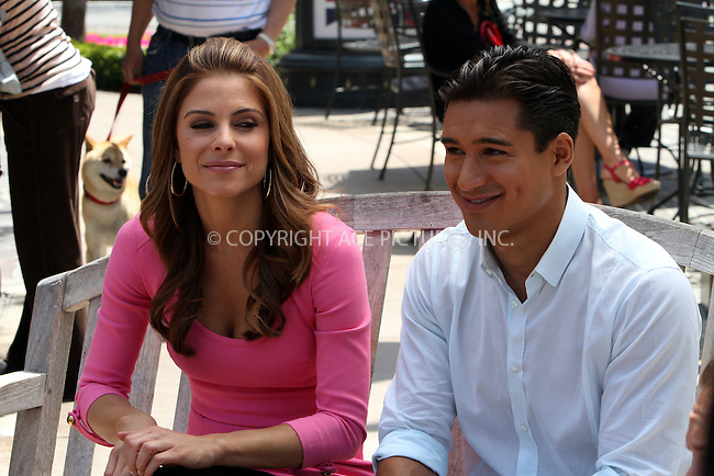 WWW.ACEPIXS.COM . . . . .  ....May 11 2012, LA....Maria Menounos and  Mario Lopez at a taping of Extra at The Grove on May 11 2012 in LA....Please byline: Zelig Shaul - ACE PICTURES.... *** ***..Ace Pictures, Inc:  ..Philip Vaughan (212) 243-8787 or (646) 769 0430..e-mail: info@acepixs.com..web: http://www.acepixs.com