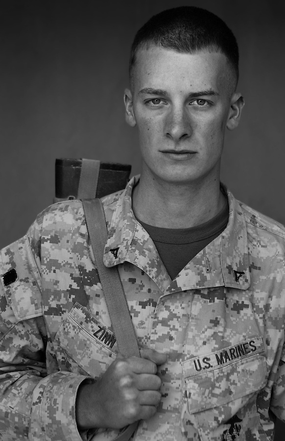 Lcpl. Tyler Zinn, 22, Decatur, Illinois, Weapons Platoon, Kilo Co., 3rd Battalion 1st Marines, 1st Marine Division, United States Marine Corps, at the company's firm base in Haditha, Iraq on Sunday Oct. 22, 2005.
