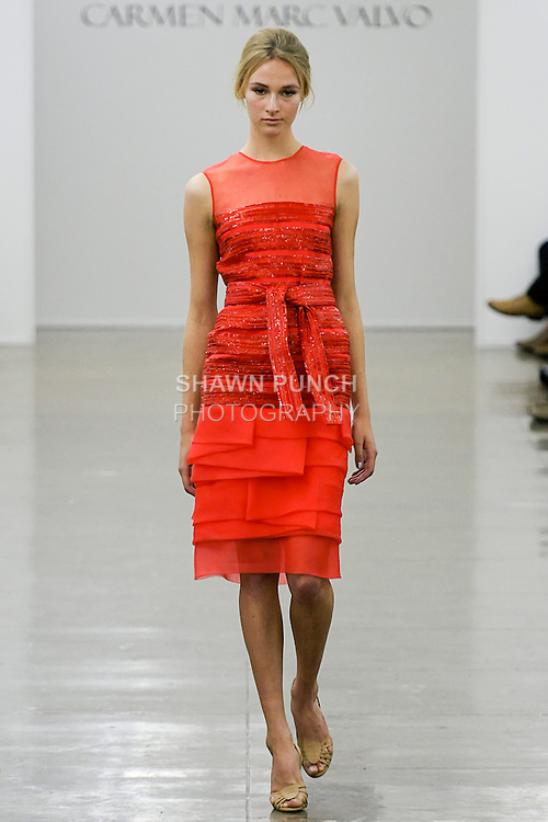 Anica walks runway in an outfit from the Carmen Marc Valvo Spring 2013 collection fashion show, during Mercedes-Benz Fashion Week Spring 2013.