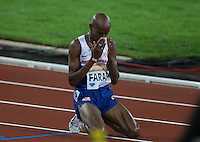 An emotional Mo Farah of GBR (Men's 3000m) after his victory during the Sainsburys Anniversary Games Athletics Event at the Olympic Park, London, England on 24 July 2015. Photo by Andy Rowland.