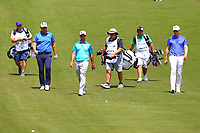 Peter Hanson, Jaco Van Zyl and Oliver Fisher on the 4th fairway during the BMW PGA Golf Championship at Wentworth Golf Course, Wentworth Drive, Virginia Water, England on 25 May 2017. Photo by Steve McCarthy/PRiME Media Images.