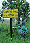 Vocanic risk sign at Arenal Volcano