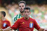 Molinero (L) and Cabrera (R) during the match between Real Betis and Recreativo de Huelva day 10 of the spanish Adelante League 2014-2015 014-2015 played at the Benito Villamarin stadium of Seville. (PHOTO: CARLOS BOUZA / BOUZA PRESS / ALTER PHOTOS)