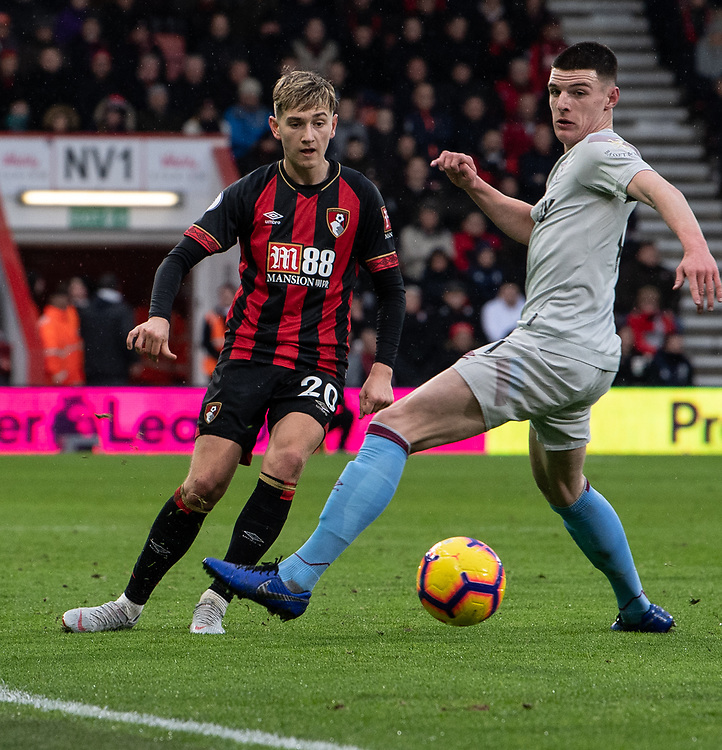 Bournemouth's David Brooks (left) crosses the ball despite the attentions of West Ham United's Declan Rice (right) <br /> <br /> Photographer David Horton/CameraSport<br /> <br /> The Premier League - Bournemouth v West Ham United - Saturday 19 January 2019 - Vitality Stadium - Bournemouth<br /> <br /> World Copyright &copy; 2019 CameraSport. All rights reserved. 43 Linden Ave. Countesthorpe. Leicester. England. LE8 5PG - Tel: +44 (0) 116 277 4147 - admin@camerasport.com - www.camerasport.com