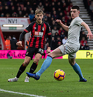 Bournemouth's David Brooks (left) crosses the ball despite the attentions of West Ham United's Declan Rice (right) <br /> <br /> Photographer David Horton/CameraSport<br /> <br /> The Premier League - Bournemouth v West Ham United - Saturday 19 January 2019 - Vitality Stadium - Bournemouth<br /> <br /> World Copyright © 2019 CameraSport. All rights reserved. 43 Linden Ave. Countesthorpe. Leicester. England. LE8 5PG - Tel: +44 (0) 116 277 4147 - admin@camerasport.com - www.camerasport.com