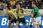 Torjubel vom Rhein Neckar Loewe Andy Schmid (Nr.2)  beim Spiel in der Handball Bundesliga, Rhein Neckar Loewen - FRISCH AUF! Goeppingen.<br /> <br /> Foto &copy; PIX-Sportfotos *** Foto ist honorarpflichtig! *** Auf Anfrage in hoeherer Qualitaet/Aufloesung. Belegexemplar erbeten. Veroeffentlichung ausschliesslich fuer journalistisch-publizistische Zwecke. For editorial use only.