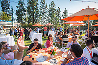 Dinner for the classes of 2003, 2008 and 2013 on Bell Field. Occidental College hosts its annual Alumni Reunion Weekend, June 22-24, 2018 on campus. This year, alumni from the classes of 1968, 1973, 1978, 1983, 1988, 1993, 1998, 2003, 2008 and 2013 gathered to reconnect with friends and family in the Oxy community.<br /> (Photo by Marc Campos, Occidental College Photographer)