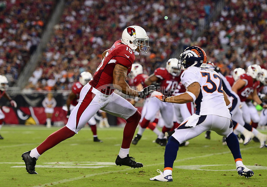 Aug. 30, 2012; Glendale, AZ, USA; Arizona Cardinals wide receiver (15) Michael Floyd against the Denver Broncos during a preseason game at University of Phoenix Stadium. Mandatory Credit: Mark J. Rebilas-