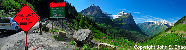 American Recovery and Reinvenstment Act Project on Going To The Sun Road, Glacier National Park, Montana.