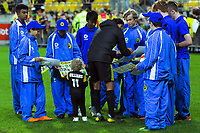 David Williams and his son Hugo sign autographs after during the A-League football match between Wellington Phoenix and West Sydney Wanderers at Westpac Stadium in Wellington, New Zealand on Sunday, 17 March 2019. Photo: Dave Lintott / lintottphoto.co.nz