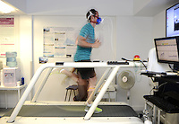 QPR players go through pre-season testing ahead of the build-up to training - pictured is Joey Barton