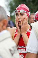 13 JUN 2010 - BEAUVAIS, FRA - Hollie Avil waits for officials to usher her to the start line at the Beauvais round of the French Grand Prix triathlon series (PHOTO (C) NIGEL FARROW)