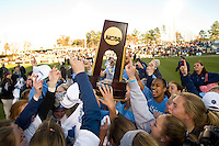 North Carolina Tar Heels players celebrate after the game. The North Carolina Tar Heels defeated the Notre Dame Fighting Irish 2-1 during the finals of the NCAA Women's College Cup at Wakemed Soccer Park in Cary, NC, on December 7, 2008. Photo by Howard C. Smith/isiphotos.com