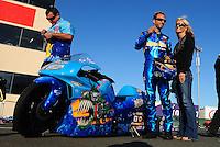 Jul. 24, 2009; Sonoma, CA, USA; NHRA pro stock motorcycle rider Matt Smith and fiance Angie McBride during qualifying for the Fram Autolite Nationals at Infineon Raceway. Mandatory Credit: Mark J. Rebilas-